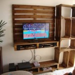 TV cabinet built using pallets and fruit boxes