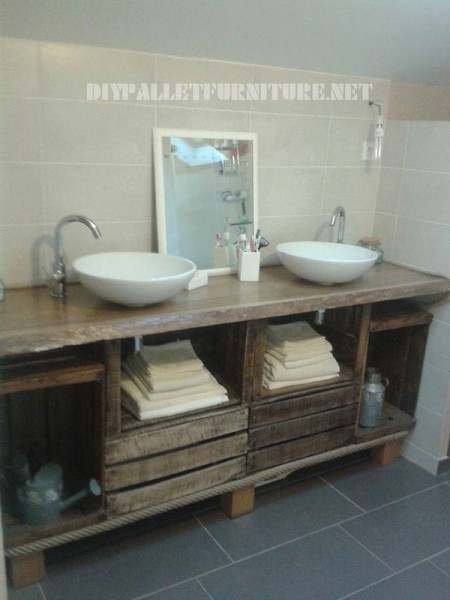 Bathroom countertop using fruit boxes 1