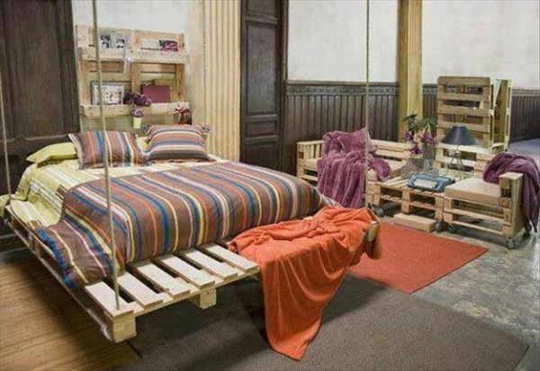 Fully furnished room with pallets