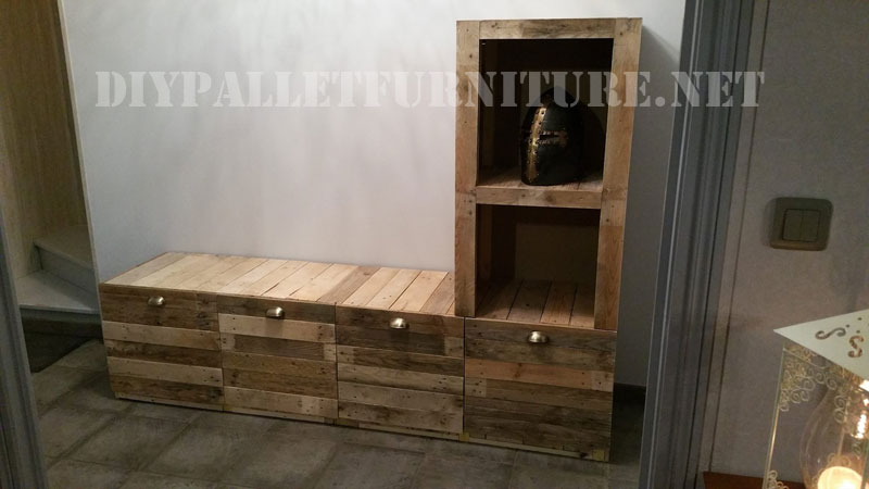 Furniture for the living room built of pallet planks