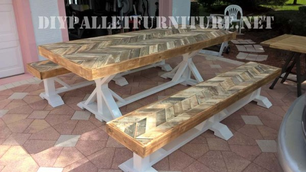 Outdoor table and benches made of pallets 1