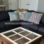 Table built with pallets and a window