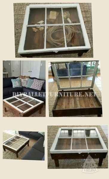 Table built with pallets and a window 5