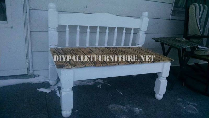 Bench built with a bed and a pallet 2