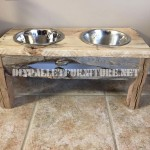 Food and water bowls for dogs made with reclaimed wood