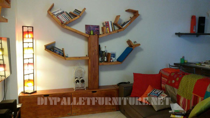 Shelving and furniture for the living room with tree shape 1