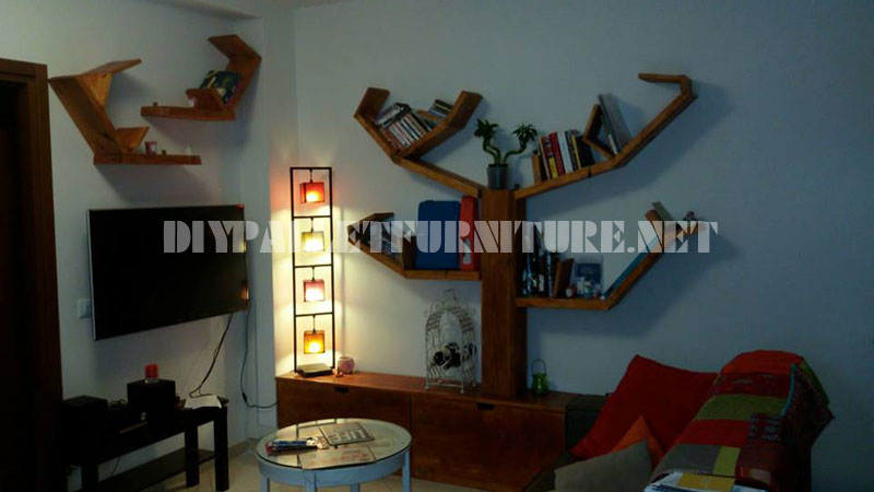 Shelving and furniture for the living room with tree shape 7