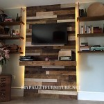 Wall made of pallets for a living room