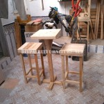 Bar stools and table built with pallets