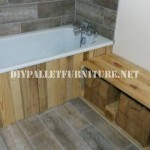 Bathroom furnished with pallets