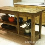 Kitchen island made with pallet planks