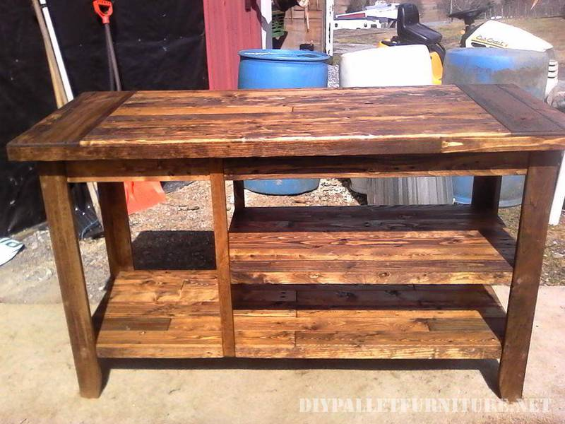 Kitchen countertop made with pallet planks 3