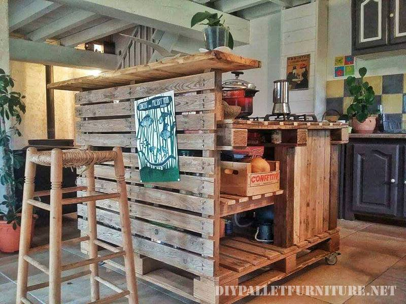 Kitchen island made with pallets 2