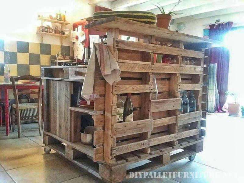 Kitchen island made with pallets 4