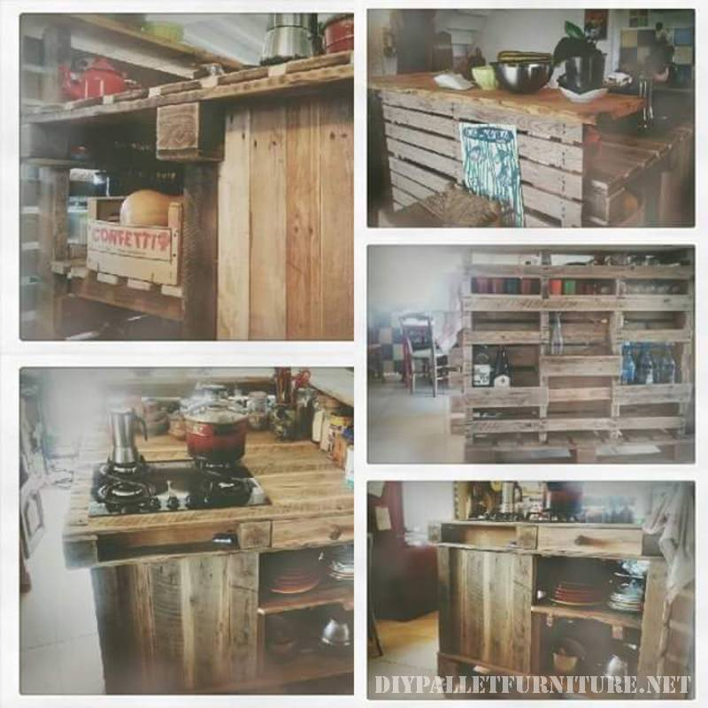 Kitchen island made with pallets 8