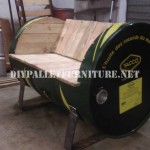 Seat constructed with an oil drum and pallets