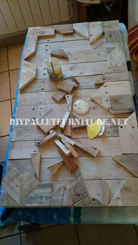 Table built with wooden pieces 2