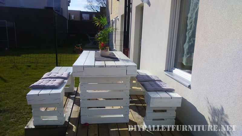 DIY pallets project for the garden benches and a table 1