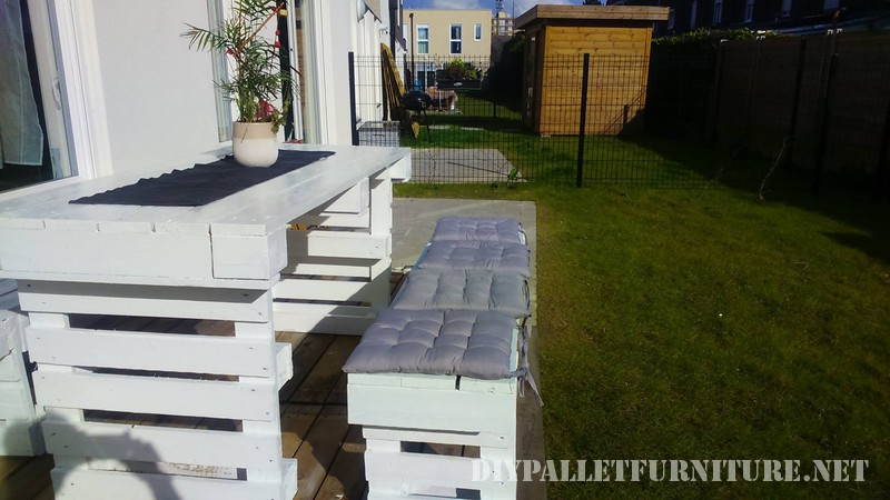 DIY pallets project for the garden benches and a table 3