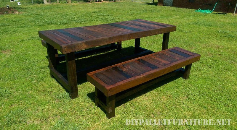 Outdoor table and benches with a great finish 2