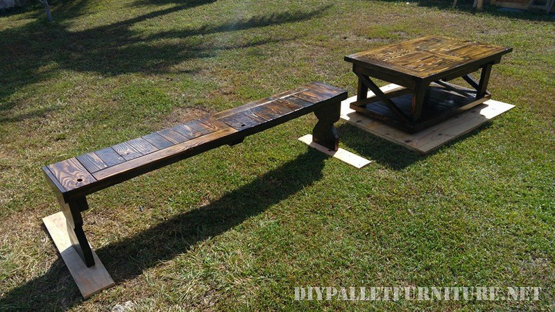 Pallet table and bench 1