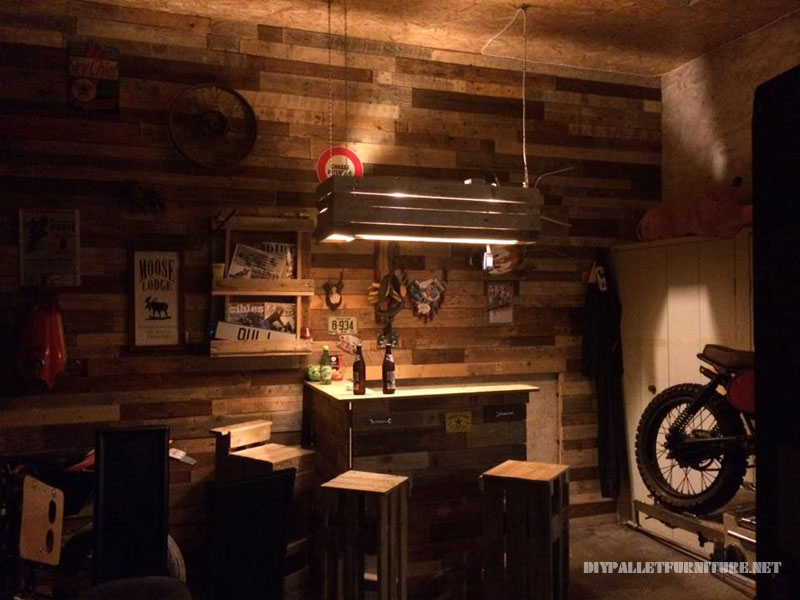 Private bar completely made with pallets