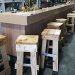 Pallet stools with footrests