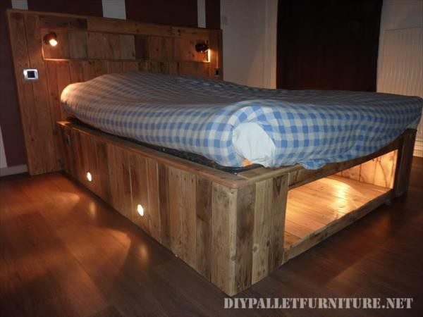 Bed made with pallet planks and a matress 6