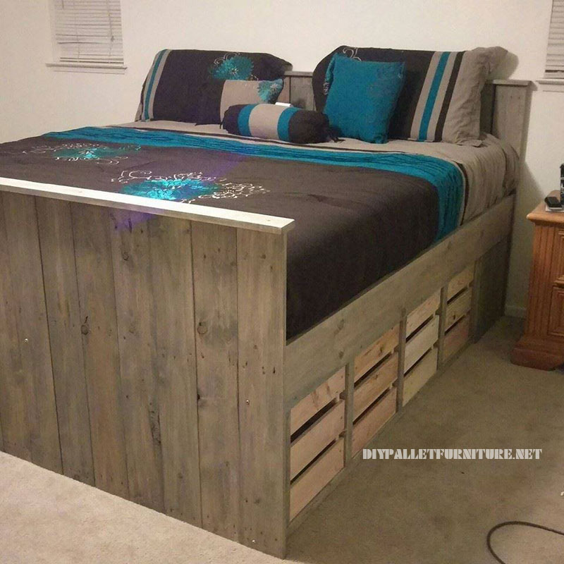 Pallet bed with drawers 1