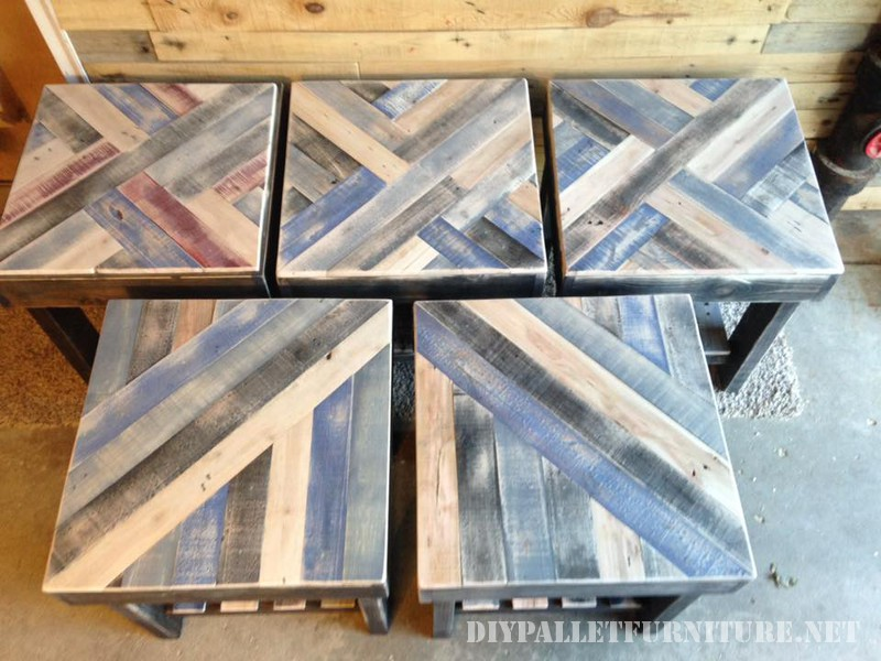 Tables with borders made of pallets 4