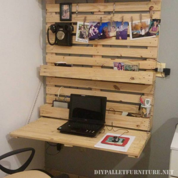 Folding wall desk with pallets 1