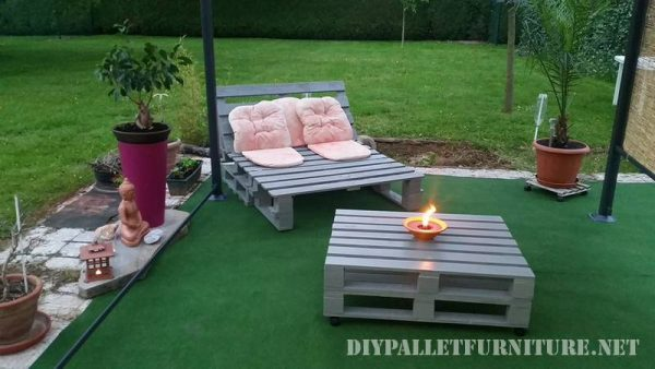 Outdoor folding armchair with pallets 4