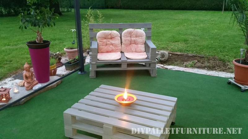 Outdoor folding armchair with pallets 5