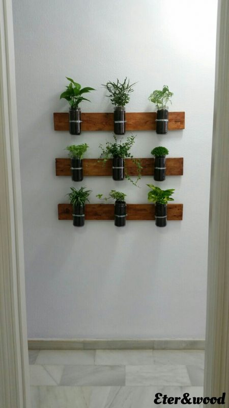 Vertical Planter with pallet planks and glass jars 2