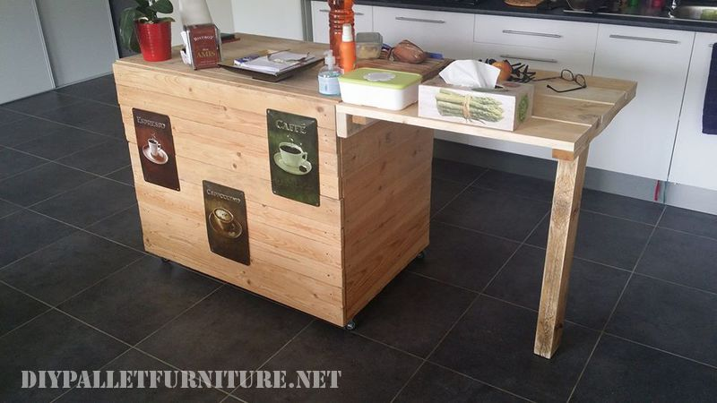 Auxiliary kitchen furniture made with pallets 1