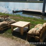 Outdoor sofas with pallets and bags