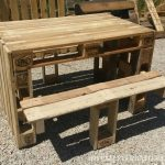 Picnic table with stools built using pallets