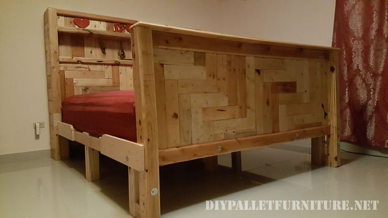 Romantic bed made with pallets 5
