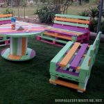 Colorful furniture for the garden with pallets