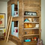 Bunk bed and library with reclaimed wood
