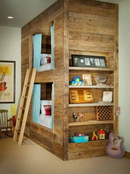 bunk-bed-and-library-with-reclaimed-wood