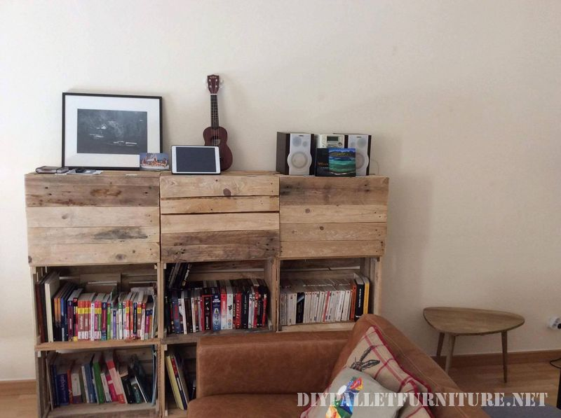 Shelf with fruit boxes and pallets 1