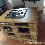 Countertop kitchen with a stove made of pallets