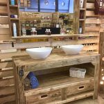 Bathroom furniture and mirror top with pallets