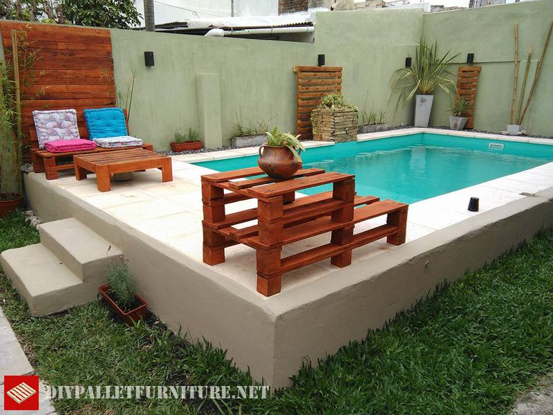 Pool Furnished With PalletsDIY Pallet Furniture DIY