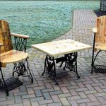 Chairs and table with recovered materials