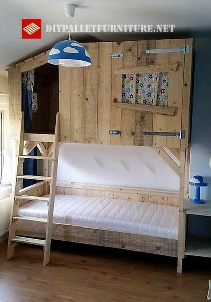 Bed with a little wooden cabinDIY Pallet Furniture   DIY ...